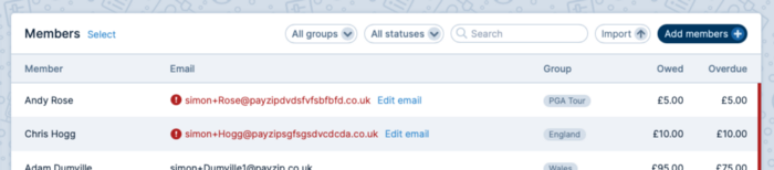 A screenshot of the Members table with invalid email addresses highlighted in red with an exclamation mark symbol