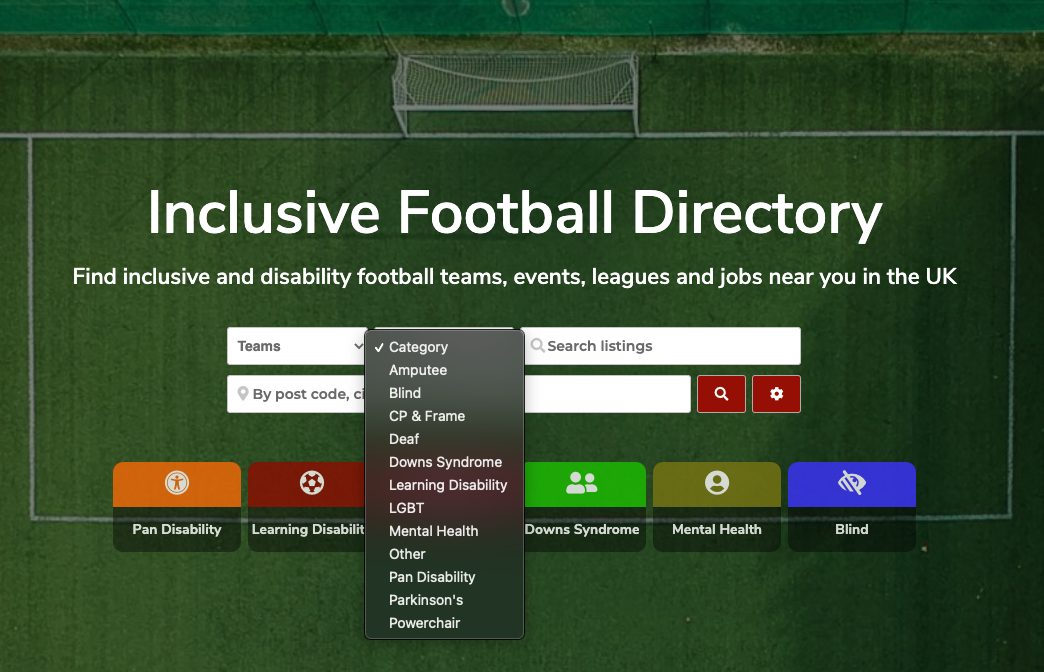 """Screenshot of """"Inclusive.Football"""" website showing a search category list containing amputee, blind, CP & frame, dead, Down's Syndrome, Learning Disability, LGBT, Mental Health, Pan Disability, Parkinson's, Powerchair, and Other."""