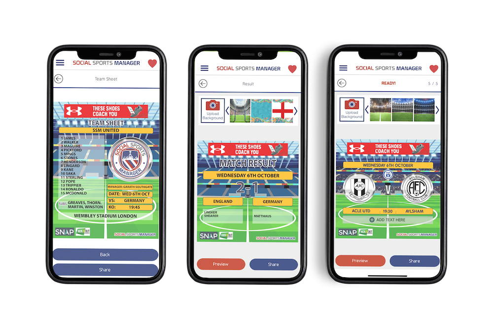 Three phones showing Social Sports Manager's images of a football teamsheet, a match result, and an upcoming fixture