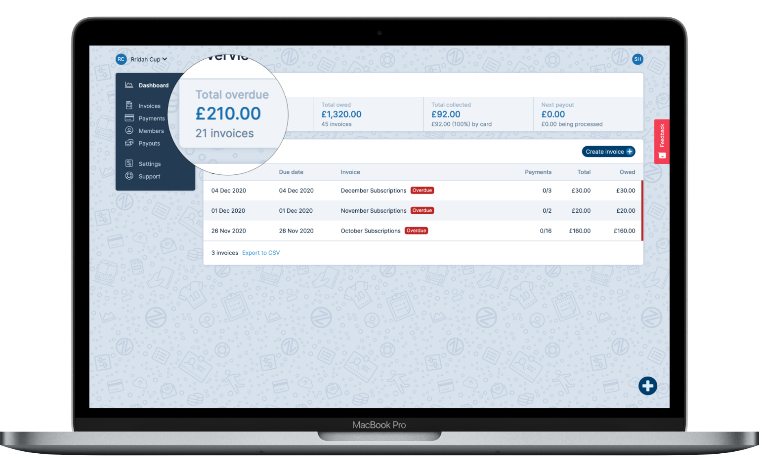 Payzip dashboard showing £210 overdue over 21 member invoices
